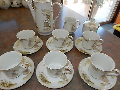 Vintage Holly Hobbie  Girl Set Cups Saucers Sugar Bowl Tea Pot  Jug *