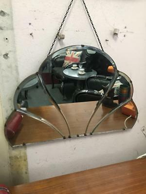 Antique Art Deco Fan Shaped Paneled Bevelled Edge Mirror With Original Chain