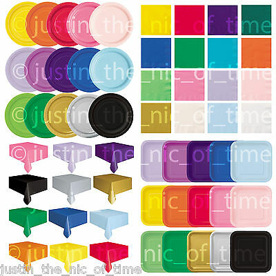Plain Solid Colours PARTY TABLEWARE  Birthday Events Occasions Catering Wedding