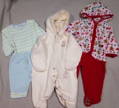 Lot Of 0-3 Month Fall Winter Baby Clothes Unisex Boy Girl Coverall Christmas