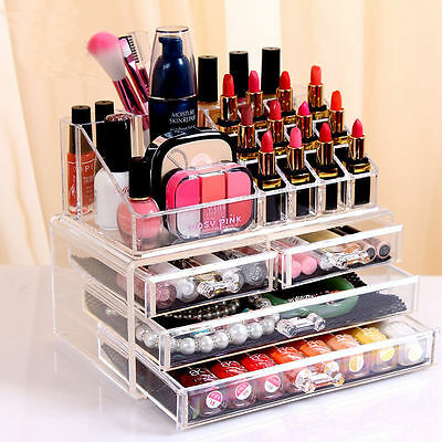 Acrylic Cosmetic Make Up Organiser Clear 4 Drawer Display Tray Storage Vanity