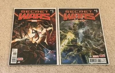 Secret Wars #1 and #6, First Prints, Excellent Condition, Marvel Comics,