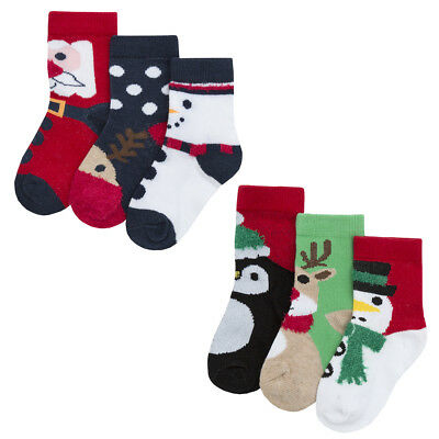Babies Xmas Socks Newborn Gift 3 Pairs Pack Festive Socks Stocking Filler UK0-5