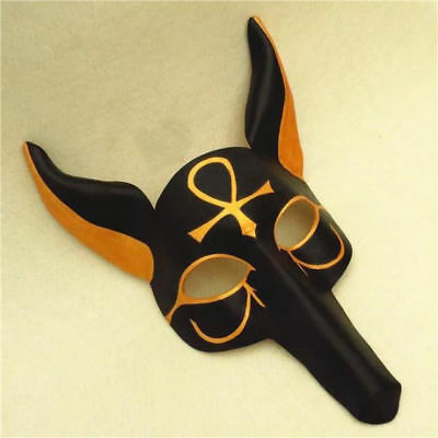 Handmade Leather Adult Anubis Mask Greek God Egyptian Costume Accessory