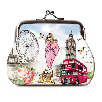 Fashion Beautiful London Kisslock Coin Purse Portable Women Clutch Purse Wallet