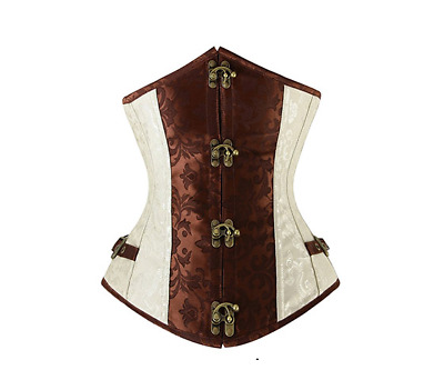 Halloween 2017 Steampunk Corset Brown & Ivory Underbust Steel Boned All Sizes
