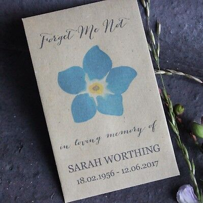 Forget Me Not-Funeral Favours-Personalised Seed Packets-Memorial-Remembrance