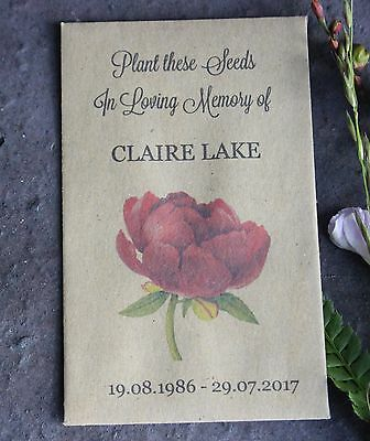 PEONY-In Loving Memory-Personalised Seed Packets-Funeral Favours-Remembrance