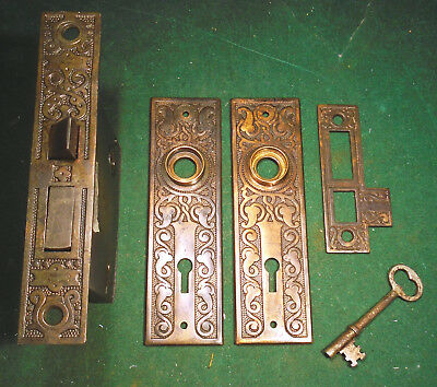 R & E EASTLAKE MORTISE LOCK w/KEY, PLATES & STRIKEPLATE - RUSSELL & ERWIN(4798)