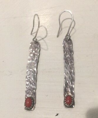 Vintage Native American Signed Hammered Sterling Silver Coral Earrings