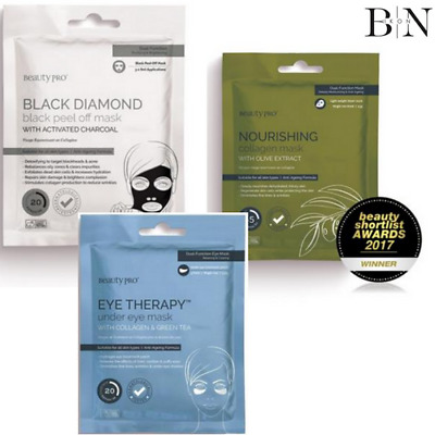 BEAUTY PRO Anti-Ageing Collagen & Charcoal Set Of Masks Face & Eyes (PACK OF 15)