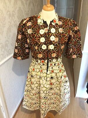 Handmade pleated African print dress size 12-14