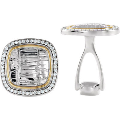 Diamond Alligator Print Cuff Links In Sterling Silver & 14K Yellow Gold (1/2ctw)
