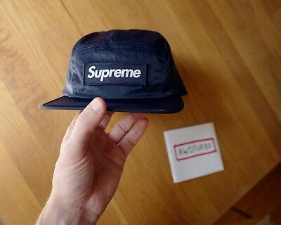 ba47a2821d1 SUPREME NYC NAVY Blue Washed Nylon Camp Cap Box Logo Hat FW17 In Hand Ships  Now -  110.00