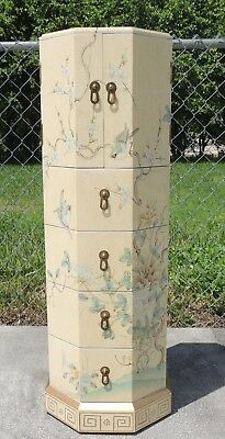 Vtg Oriental Chinese Hand Painted Enamel Signed Standing Jewelry Box Cabinet