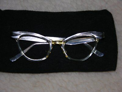 True Vintage Titmus Cat Eye Glasses Plastic with Metal Arms 3-3/4 5 1/4 USA