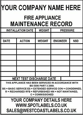 Personalised Large Fire Extinguisher Maintenance Labels PERSONALISED FOR FREE