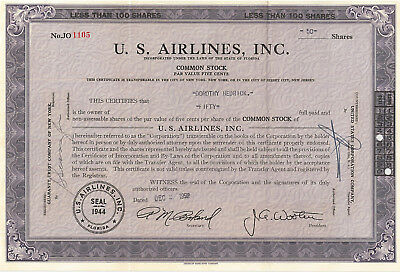 U. S. Airlines stock certificate > 1952 Florida