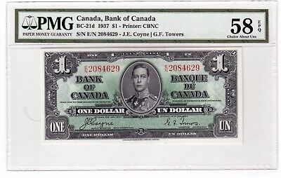 Canada $1 Dollar Banknote 1937 BC-21d PMG Choice About UNC 58 EPQ