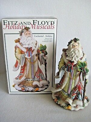 "Fitz & Floyd ""Enchanted Holiday"" Christmas Musical Santa Figurine W/Original Box"