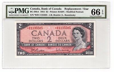 """Canada $2 Banknote 1954 BC-38bA PMG GEM UNC 66 EPQ """" Replacement / Star """""""
