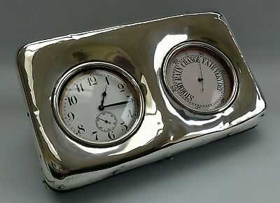 Vtg 1902 Douglas Clock Co Solid Silver Desk Travel Goliath Clock & Barometer