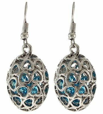 Silver Tone Drop Dangle Earrings With A Blue Jewel Accent Within An Egg Shaped