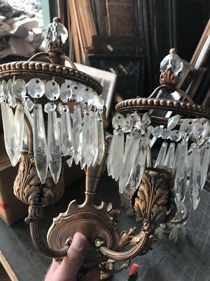 Lt 91 Match Pair Antique To Arm Prism Wall Sconce.