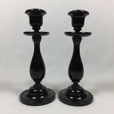Antique Real Ebony Candlesticks Black Vintage Wood Candle Stick Vintage Pair