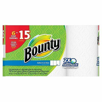 Bounty Select-A-Size Paper Towels, White, 6 Huge Rolls Equal-To 15...