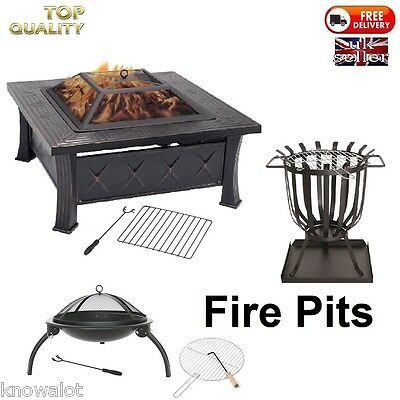 Fire Pit Patio Heater Brazier Garden Stove Chiminea BBQ Firepit - Camping Burner