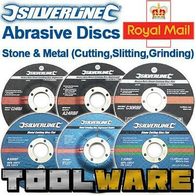 Silverline OSA Stone Metal Cutting Slitting Heavy Duty Angle Grinding Discs