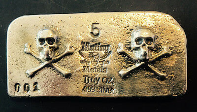 Limited Edition Tombstone Double Skull And Crossbones 5 oz .999 Silver USA Bar