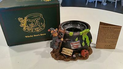 """Boyd's#27740 * """"Witchy Boo's Brew"""" Halloween Candle Holder - Resin  w/COA"""