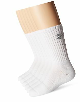 Under Armour Crew Socks (6-Pair), Solid White, Youth Large