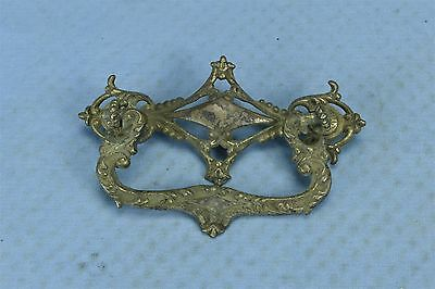 Antique VICTORIAN FANCY PIERCED CAST BRASS DRAWER PULL HARDWARE OLD #03613
