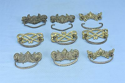 Antique MIX LOT 9 VICTORIAN PRESSED BRASS HANDLES HARDWARE RESTORATION #03623