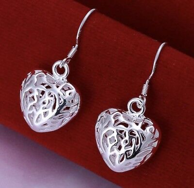 925 Stamped Sterling Silver Solid Hollow Heart Drop Earrings Gift Present