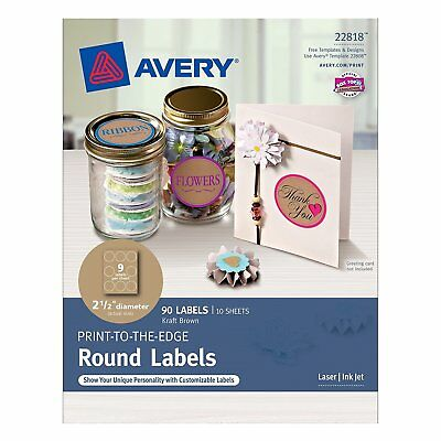 Avery Print-to-the-Edge Round Labels, Kraft Brown, 2.5 inch Diameter, Pack of 90
