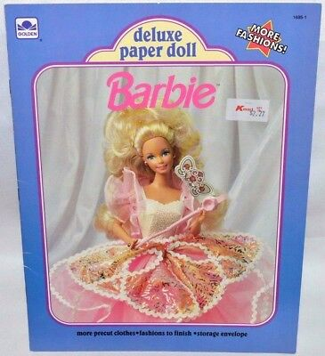 New-1991 Golden Book-Barbie Deluxe Paper Doll Book-1 Doll + 28 Fashions & Acces.