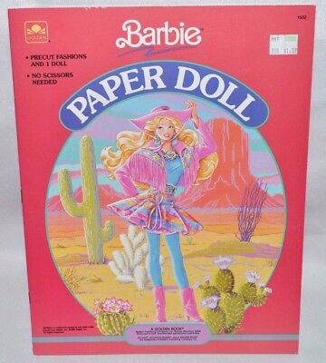 New-1990 Golden Book-Barbie Paper Doll Book-1 Doll-14 Fashions+Accessories+Case!