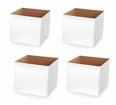 WHITE MINI POSY BOXES x 4  White 13cmX13cm Posy Box for Flower Arrangement