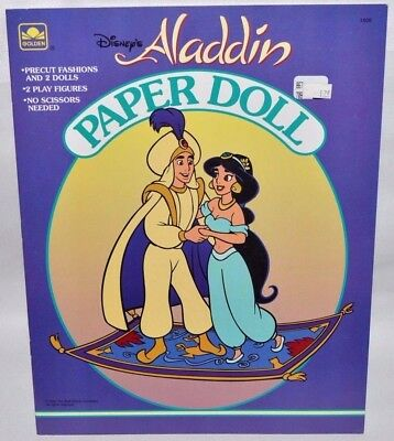 New-1992 Golden Book-Disney- Aladdin Paper Dolls+Jasmine, Genie & Abu + Fashions