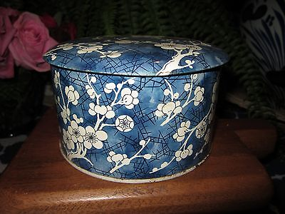 Blue & White Round Tin / Container With Cherry Blossom Pattern