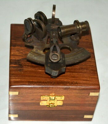 Vintage Brass Sextant Handmade Antique Brass Navigation Sextant With Wooden Box
