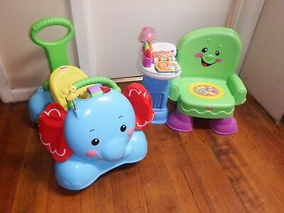 FISHER PRICE ELEPHANT 3-IN-1 RIDE ON / BOUNCER / WALKER& Chair Good Condition