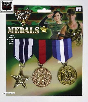 Supreme War Military Medals Gold 3 Pack Army Navy Airforce Fancy Dress Hero Set