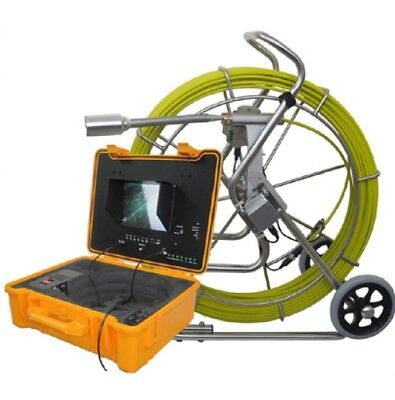 "Sewer Drain Pipe 10"" LCD 300FT Cable   1.5"" Inspection Video Camera 512 HZ Sonde"