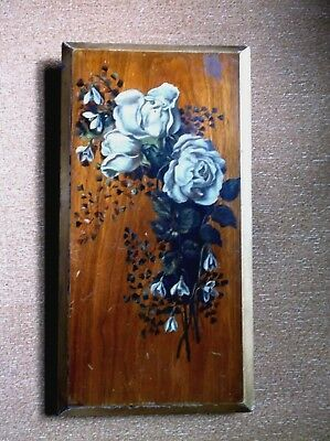 Unusual Antique 19 C Large Solid Wooden Plaque Hand Painted Flowers Gilded Edges