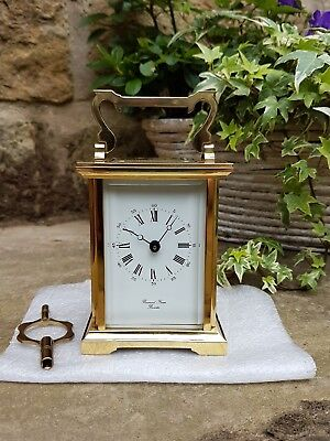 A quality modern 7 jewel carriage clock by Bornand Freres of Bicester VGC